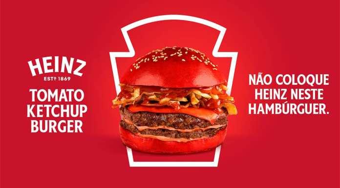 Foto de divulgação do Heinz Tomato Ketchup Burger.