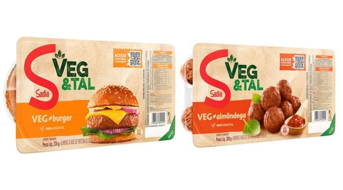 Foto de divulgação do hambúrguer e da almôndega de planta da Sadia.