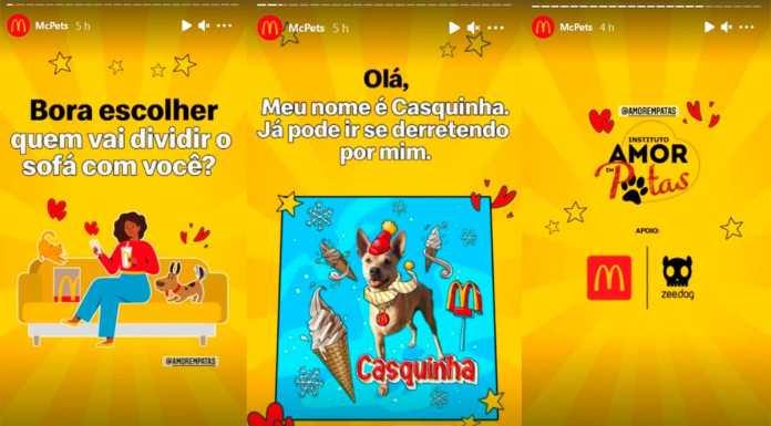 Campanha de adoção do Instituto Amor em Patas que o McDonald's está promovendo.
