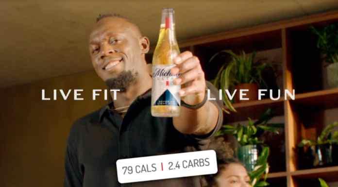 Usain Bolt sendo embaixador da Michelob Ultra.