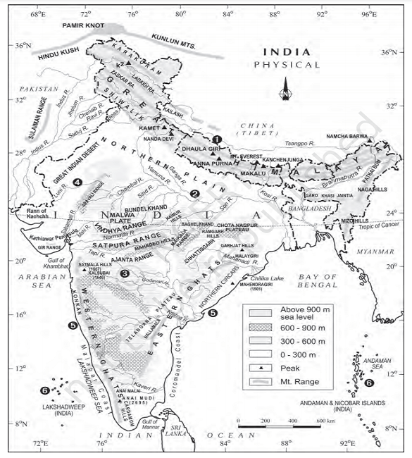 physography of himalayas map - Physiography Of India (Himalayas)