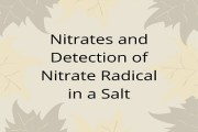 Nitrates and Detection of Nitrate Radical in a Salt
