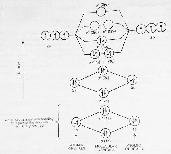 energy level diagram for nitrogen molecule - Bonding in Some Diatomic Molecules (Applications of Molecular Orbital Theory)