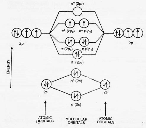 energy level diagram for oxygen molecule - Bonding in Some Diatomic Molecules (Applications of Molecular Orbital Theory)