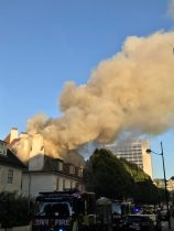 Firefighters quell big blaze near London's Euston train station