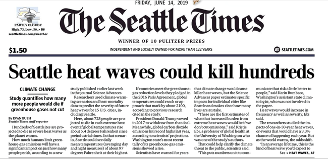 """Debunking Media Hysterics That """"Seattle Heat-Waves Could Kill Hundreds"""""""