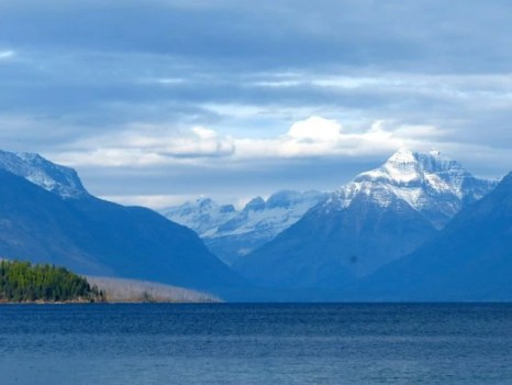 SNOW on the mountains by Lake McDonald