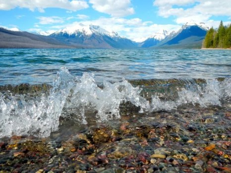 Lake McDonald crashing waves