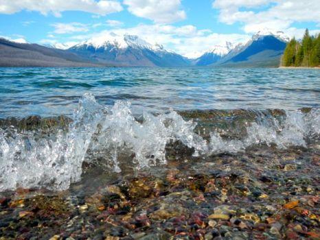 Lake McDonald crashing waves