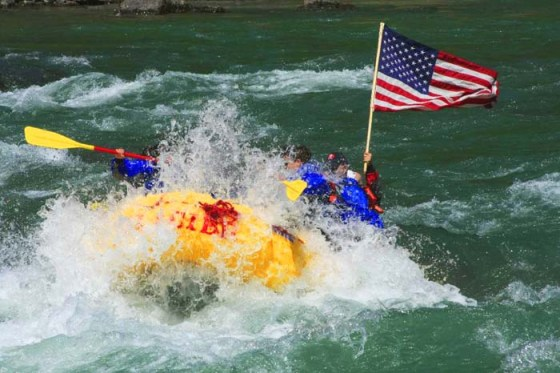 american flag whitewater rafting