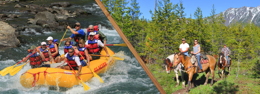 white water rafting glacier national park,, horseback and raft full day trip