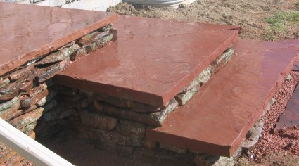 cut flagstone patio and stairs (stairs)