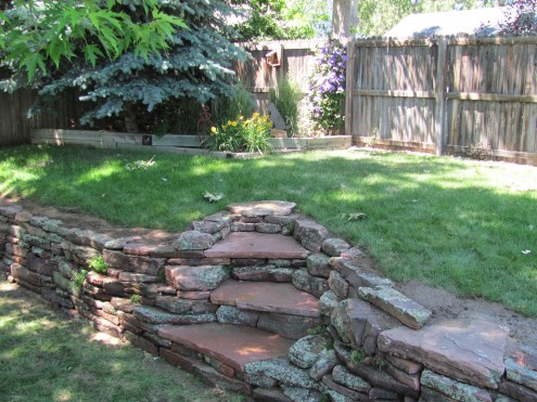 Moss Rock Wall w/ Flagstone Stairs