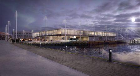 Prostneset passasjerterminal. Visualisering nattbilder. (Tromsø havn KF)