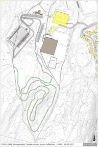 Skisse av løypetraseer og stadion - Templarheimen (Rambøll for Tromsø kommune)
