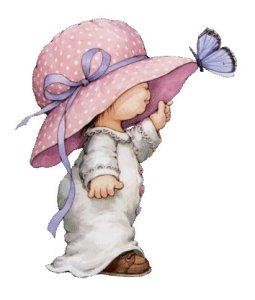 Flicka hatt fjäril