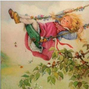 Flicka gungar rosa