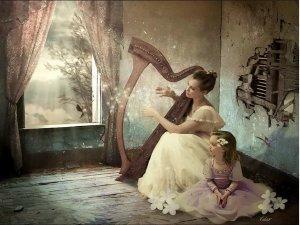 Kvinna harpa