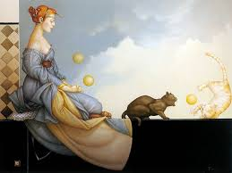 Kvinna jonglerar katter