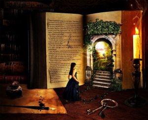 Magisk dörr flicka port