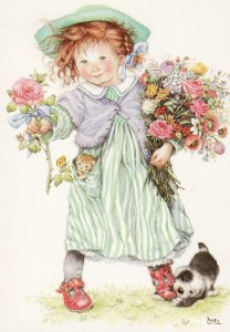 Söt flicka blommor