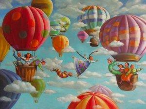 Söt m ballonger i luften