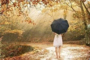 Kvinna paraply höst
