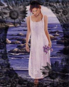 Kvinna vatrten blommor blå