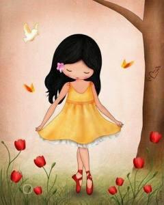 Flicka gul klänning