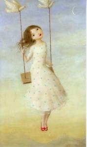 Flicka gunga duvor