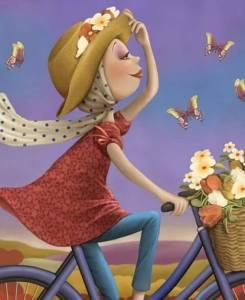 Flicka sjal cykel