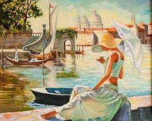 Kvinna båtar paraply