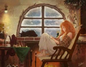 Kvinna filosoferar vid fönster