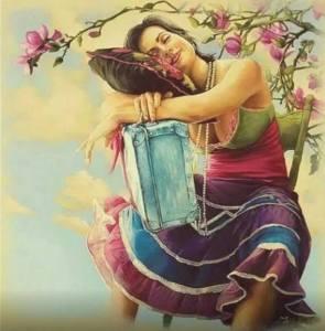 Kvinna träd kudde resväska