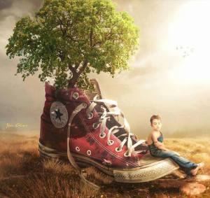 Sko träd pojke