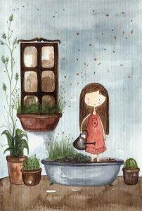 Flicka badkar växter