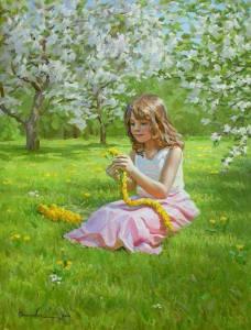 Flicka äng gula blommor