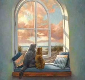 Katter fönster kuddar