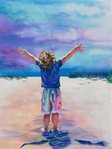 Pojke beach blått