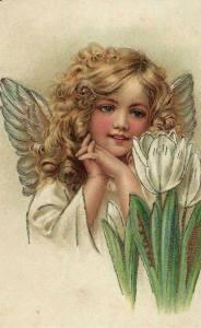 Flickängel grönt vit blomma