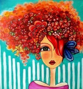 Kvinna hår orange