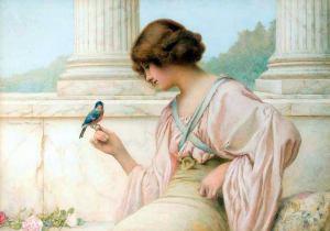 Kvinna vacker blåmes