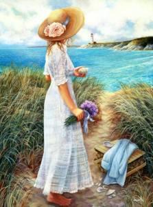 Kvinna stig hatt hav