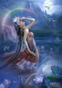 Kvinna blå näckros