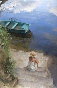Kvinna trappa båt