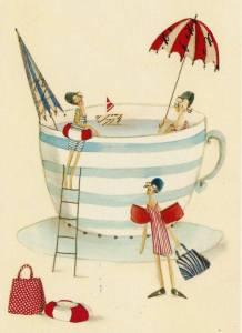 Te kopp med kvinnor badande