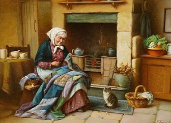 Äldre kvinna spis katt kopia