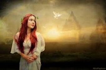 Kvinna vacker natur tankar