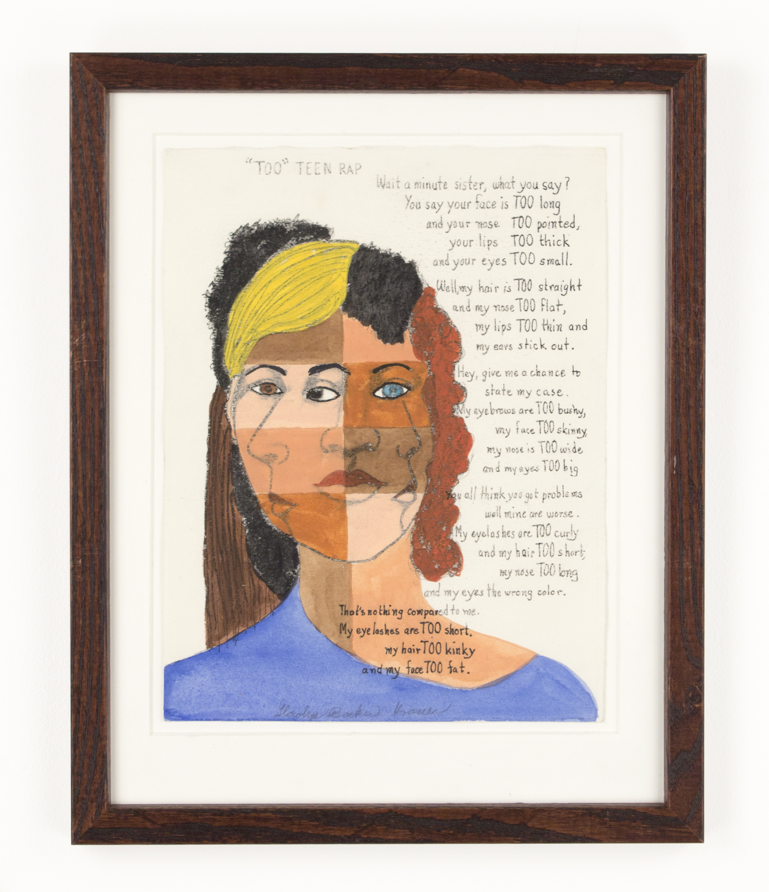 """""""About Face"""" (Artist Book Edition VIII) 1988, Tempera and Ink, 15x12IN"""