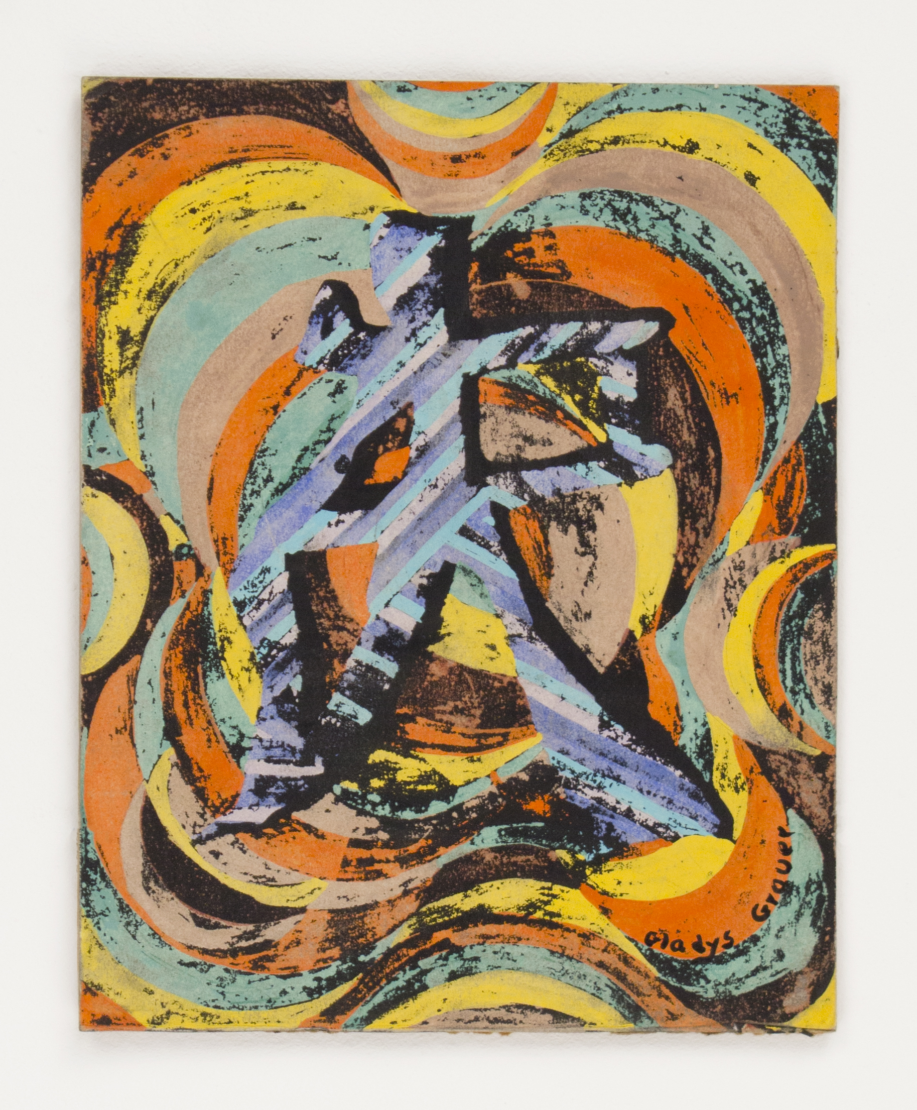 """""""Chinese Symbol"""" 1980, Gouache Resist, 14x11IN"""
